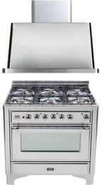"2-Piece Stainless Steel Kitchen Package with UM906DMPIX 36"" Freestanding Dual Fuel Range (Chrome Trim, 6 Burners, Timer) and UAM90I 36"" Wall Mount Range Hood"