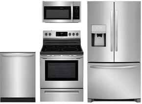 "4-Piece Kitchen Stainless Steel Package With FFHB2750TS 30"" French Door Refrigerator, FFEF3054TS 30"" Electric Freestanding Range, FFMV1645TS 30"" Over-the-Range Microwave, FFID2426TS 24"" Built In Dishwasher"