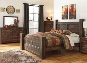Quinden King Bedroom Set with Poster Storage Bed, Dresser, Mirror and Chest in Dark Brown Finish