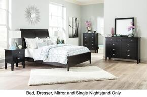 Braflin Queen Bedroom Set with Panel Bed, Mirror, Dresser and Single Night Stand in Black Finish