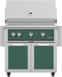 """36"""" Freestanding Liquid Propane Grill with GCD36GR Tower Grill Cart with Double Doors, in Grove Green"""