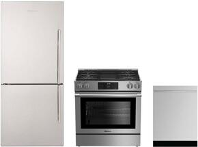 "3-Piece Kitchen Package with BRFB1812SSLN 30"" Counter Depth Bottom Freezer Refrigerator, BGR30420SS 30"" Slide-In Gas Range, and a free DW55502SS 24"" Built In Fully Integrated Dishwasher in Stainless Steel"