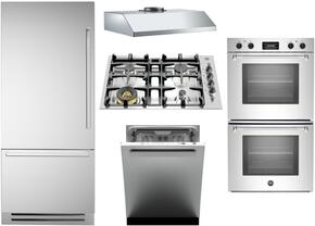 "5-Piece Stainless Steel Kitchen Package with REF30PIXL 30"" Bottom Freezer Refrigerator, QB30M400X 36"" Gas Cooktop, MASFD30XT 30"" Electric Double Wall Oven, KU36PRO1XV 36"" Wall Mount Hood, and DW24XV 24"" Fully Integrated Dishwasher"