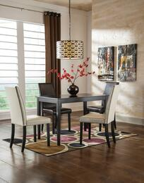 Mia Collection 5-Piece Dining Room Set with Rectangular Dining Table and 4 Side Chairs in Dark Brown and Ivory