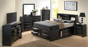 G1500GTSB3NTV 3 Piece Set including Twin Size Bed, Nightstand and Media Chest  in Black