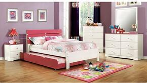 Kimmel Collection CM7626PKFBDMCN 5-Piece Bedroom Set with Full Bed, Dresser, Mirror, Chest, and Nightstand in  White and Pink Finish