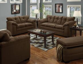 Luna 6565-0302015095 4 Piece Set including Sofa, Loveseat, Chair and a Half and Ottoman with  Tufted Back in Chocolate
