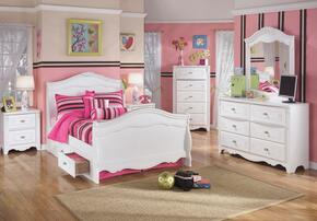 Exquisite Full Bedroom Set with Sleigh Bed with Underbed Drawers, Dresser, Mirror, 2 Nightstands and Chest in White