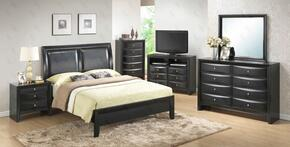 G1500AKBNTV 3 Piece Set including King Size Bed, nightstand and Media Chest  in Black