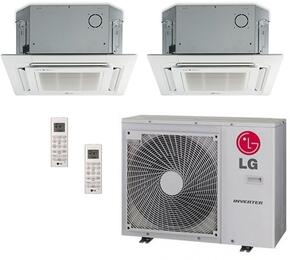 LMU30CHVPACKAGE25 Dual Zone Mini Split Air Conditioner System with 24000 BTU Cooling Capacity, 2 Indoor Units, Outdoor Unit, and 2 PT-UQC Grille Units