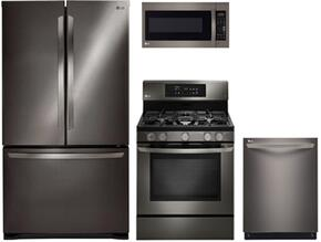 "4 Piece Kitchen Package With LFCS25426D 36"" Freestanding Side by Side Refrigerator, LRG3081BD 30"" Gas Range, LMV2031BD 30"" Over the Range Microwave Oven and LDF7774BD  24"" Built In Dishwasher in Black Stainless Steel"