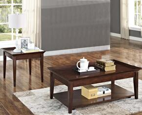 30709CE Terrace 2 Piece Occasional and Entertainment Table Set with Cocktail Table and End Table, in Chestnut