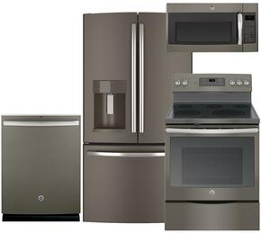 "4-Piece Slate Kitchen Package with GFE28HMHES 36"" French Door Refrigerator, JB700EJES 30"" Electric Range, GDT580SMFES 24"" Fully Integrated Dishwasher and JVM6175EFES 30"" Over-the-Range Microwave"