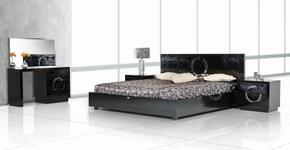 VGUNAW223-180-BLKEKN A&X Ovidius Eastern King Size Bed + 2 Nightstands + Vanity with Mirror in Black Lacquer Crocodile Texture