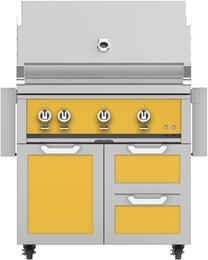 "36"" Freestanding Liquid Propane Grill with GCR36YW Tower Grill Cart with Three Doors, in Sol Yellow"