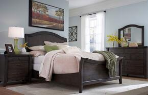 Attic Retreat Collection 4 Piece Bedroom Set With King Size Sleigh Bed + 1 Nightstand + Dresser + Mirror: Weathered Mink