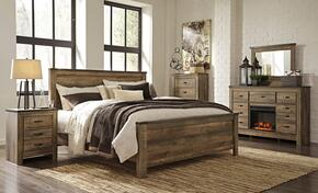Trinell King Bedroom Set with Panel Bed, Dresser, Mirror and Nightstand in Brown