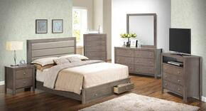 G2400 Collection G2405CFSBSET 6 PC Bedroom Set with Full Size Storage Bed + Dresser + Mirror + Chest + Nightstand + Media Chest in Grey Finish