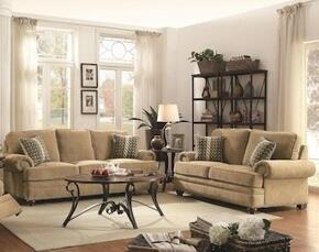 """Colton 505851 89"""" Traditional Sofa and Love Seat in Wheat Fabric Upholstery"""
