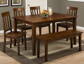 Simplicity Collection 45260SSET 6 PC Dining Room Set with Dining Table + Bench + 4 Slat Back Chairs in Caramel Finish