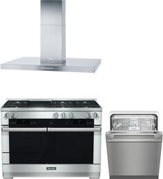 "3-Piece Stainless Steel Kitchen Package with HR1955DFGRLP 48"" Freestanding Dual Fuel Range, DA424V 48"" Mount Ducted Hood, and G4977VISF 24"" Fully Integrated Dishwasher"
