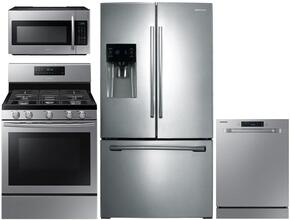 "4-Piece Stainless Steel Kitchen Package with RF263BEAESR 36"" French Door Refrigerator, NX58H5600SS 30"" Freestanding Gas Range, DW80J3020US 24"" Full Console Dishwasher and ME18H704SFS 30"" Over The Range Microwave"