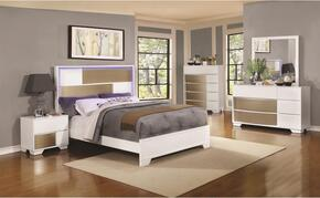 Havering Collection 204741Q Queen Bed, Night Stand, Dresser and Mirror in Blanco & Sterling Finish