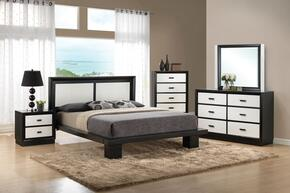 Debora 20607EK5PC Bedroom Set with Eastern King Size Bed + Dresser + Mirror + Chest + Nightstand in Black and White Color