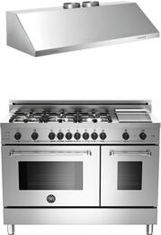 "Bertazzoni Stainless Steel 2-Piece Kitchen Package With 48"" MAS486GDFSXTLP 48"" Master Series Dual Fuel Freestanding Range and KU48PRO2X 48"" Professional Wall Mount Hood"