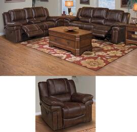 2032030SBWSLG Hastings 3 Piece Manual Recline Living Room Set with Sofa, Loveseat and Glider Recliner, in Brown