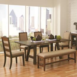 Arcadia 105681CB 6 PC Dining Room Set with Dining Table + 4 Side Chairs + Bench in Weathered Acacia Finish