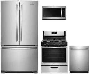 "4 Piece Kitchen Package With WRF535SWHZ 36"" French Door Refrigerator , WFG505M0BS 30"" Gas Freestanding Range, WDT730PAHZ 30"" Over the Range Microwave Oven and WDT730PAHZ 24"" Built In Dishwasher in Stainless Steel"