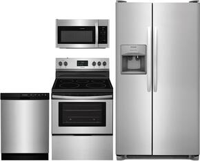 "4-Piece Kitchen Package with FFSS2615TS 36"" Side by Side Refrigerator, FFEF3052TS 30"" Freestanding Electric Range, FFMV1645TS 30"" Over the Range Microwave Oven, and FFBD2412SS 24"" Built In Full Console Dishwasher in Stainless Steel"