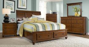 Hayden Place Collection 6 Piece Bedroom Set With King Size Sleigh Storage Bed + 2 Nightstands + Dresser + Drawer Chest + Mirror: Light Cherry