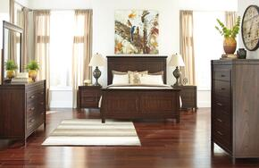 Timbol King Bedroom Set with Panel Bed, Dresser, Mirror, 2 Nightstands and Chest in Warm Brown Finish