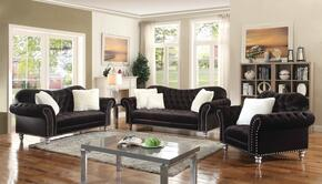 G709SET 3 PC Living Room Set with Sofa + Loveseat + Armchair in Black Color