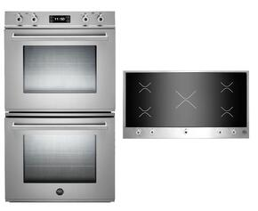 "Professional 2-Piece Stainless Steel Kitchen Package with FD30PROXE 30"" Double Electric Wall Oven and PM360IGX 36"" Electric Cooktop"