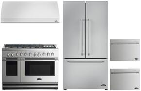 "4 Piece Kitchen Package With RDV2486GLN 48"" Dual Fuel Freestanding Range, VS48 48"" Wall Mount Hood, RF201ACJSX1 36"" French Door Refrigerator and two DD24SV2T7 24"" Dishwasher Drawers in Stainless Steel"