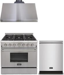 "3-Piece Package With KRG3618U 36"" Gas Range, KRH3605U 36"" Under Cabinet hood and K6502D 24"" Dishwasher in Stainless Steel"