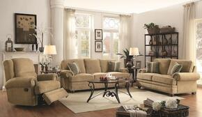 """Colton 505851 89"""" Traditional Sofa, Love Seat and Recliner in Wheat Fabric Upholstery"""