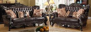 Barcelona 675-S-L 2 Piece Living Room Set with Sofa and Loveseat in Rich Cherry