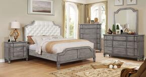 Ganymede Collection CM7856CKBEDSET 5 PC Bedroom Set with California King Size Panel Bed + Dresser + Mirror + Chest + Nightstand in Grey Finish