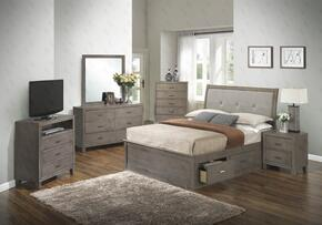G1205BTSBCHDMNTV 6 Piece Set including Twin Storage Bed, Chest, Dresser, Mirror, Nightstand and Media Chest  in Gray