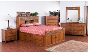 Sedona Collection 2334ROSQBDMNC 5-Piece Bedroom Set with Storage Queen Bed, Dresser, Mirror, Nightstand and Chest in Rustic Oak Finish