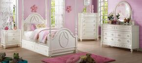 Dorothy 30360T7PC Bedroom Set with Twin Size Poster Bed + Dresser + Mirror + Chest + Nightstand + Canopy + Trundle in Ivory