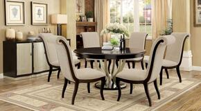 Ornette Collection CM3353RT6SCSV 8-Piece Dining Room Set with Round Table, 6 Side Chairs and Server in Espresso and Champagne Finish