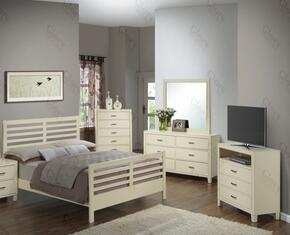 G1290CFB2CHDMTV 5 Piece Set including Full Size Bed, Chest, Dresser, Mirror and Media Chest  in Beige
