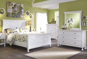 Kaslyn Queen Bedroom Set with Panel Bed, Dresser, Mirror and Chest in White