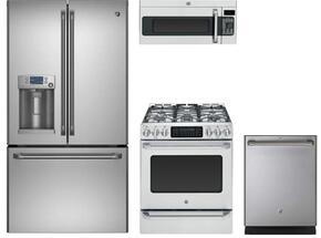"4-Piece Caf  Series Stainless Steel Kitchen Package  with CFE28TSHSS 36"" French Door Refrigerator, C2S985SETSS 30"" Slide-in Dual Fuel Range, CVM1790SSSS 30"" Over The Range Microwave Oven and CDT865SSJSS 24"" Built In Dishwasher"