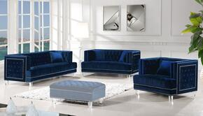 Lucas Collection 6093PCSTLARMKIT1 3-Piece Living Room Sets with Stationary Sofa, Loveseat and Living Room Chair in Navy